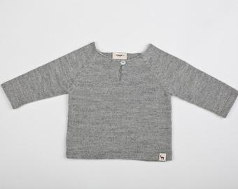 Raglan pullover / Baby alpaca gray sweater / light pullover for boy / girl / baby / toddler / kids