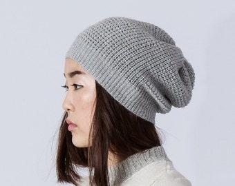 Waffle pattern alpaca hat / gray slouchy hat / knit alpaca hat woman knitted cap alpaca wool slouchy beanie over sized hat alpaca beanie