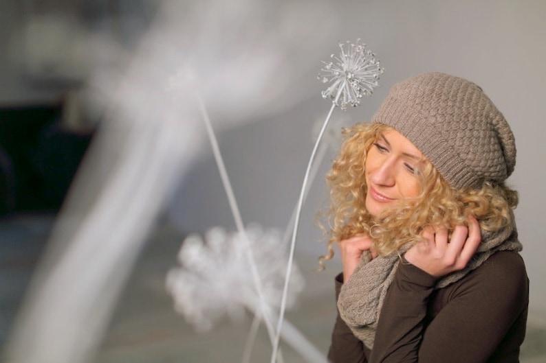 604b6bc9db0f6 Brown alpaca hat   gray slouchy hat   knit alpaca hat woman