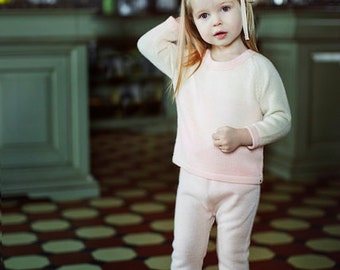 SALE 40% OFF Ombre girl pullover 6 - 12 months pale rose sweater pink and white pullover toddler baby girl alpaca pullover girl wool sweater