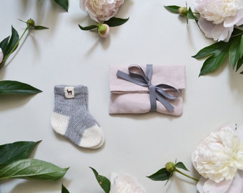 Baby socks alpaca newborn socks knitted socks kids socks 100% alpaca wool socks gray cream white knit socks baby shower gift girl boy socks