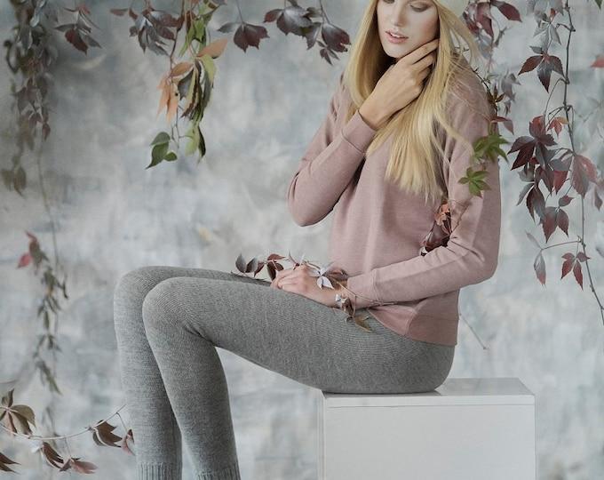 Featured listing image: Alpaca leggings for woman / adult knit pants / baby alpaca wool leggings / slim fit knitted pants / gray / brown
