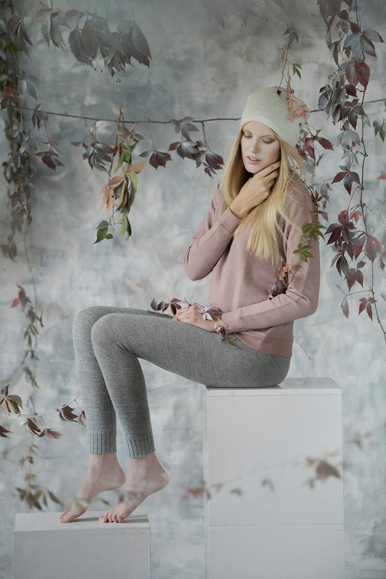 Alpaca leggings for woman / adult knit pants / baby alpaca image 0
