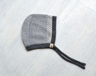 Baby cap / gray / charcoal / ivory / navy hat / baby children / alpaca wool baby cap / knit baby hat / baby bonnet
