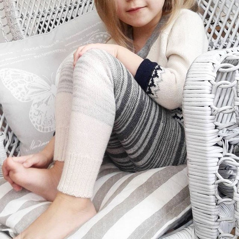 Kids leggings in ombre 100% baby alpaca sizes from 2  8 years image 0