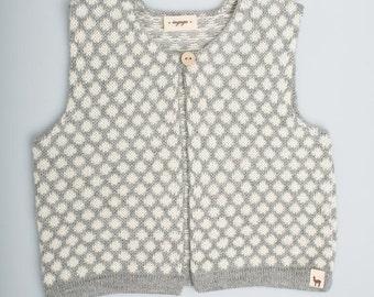 Polka dot vest / Baby alpaca wool girl vest / gray / white / jacquard pattern / children / girl / toddler / baby top
