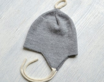 Double layer knit hat / alpaca kids hat / warm winter hat / hat with ear covers for baby children toddler / knitted wool hat with ear flaps