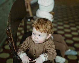 Hooded brown sweater/ baby alpaca knit hoodie /  wool jacket /  baby / boy / girl / toddler coat