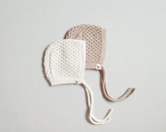 Baby bonnet 100% baby alpaca