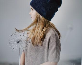 Kids blue hat baby cap navy hat knitted children toddler 6-12 12-24 2-4 years alpaca wool slouchy beanie gray hat knit boy hat warm girl hat