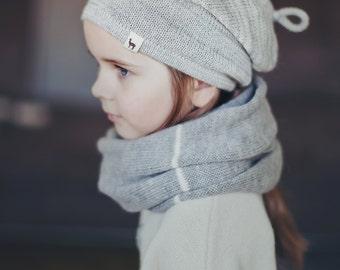 Melange  hat / baby / children / toddler / alpaca wool slouchy beanie / over-sized gray hat /  knit unisex hat / baby alpaca hat / knit hat