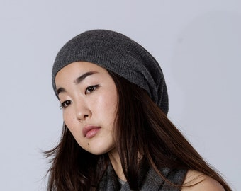 Slouchy hat / dark gray beanie knit hat woman