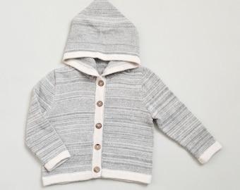 Hooded sweater in gray or navy melange / baby alpaca gray knit hoodie / wool jacket alpaca sweatshirt / boy hoodie / girl hoodie
