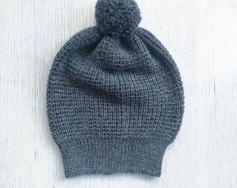 Pom pom alpaca hat / gray slouchy hat / knit alpaca hat woman knitted cap alpaca wool slouchy beanie over sized hat alpaca beanie