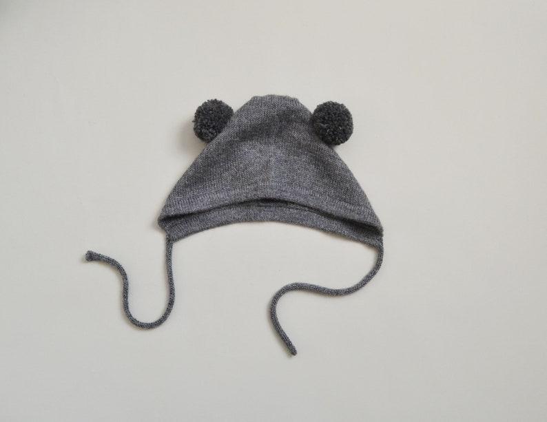 dca0685e3dc Bear hat baby cap with pom pom ears in alpaca wool pom pom hat