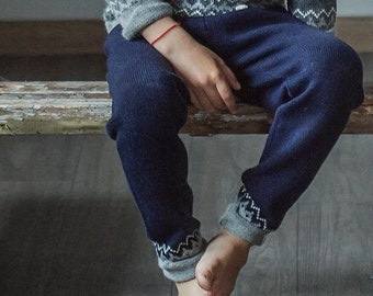 Nordic pants / knitted sweatpants for kids girl boy toddler / gray pants for boy / drawstring pants / alpaca sweatpants kids / kids joggers