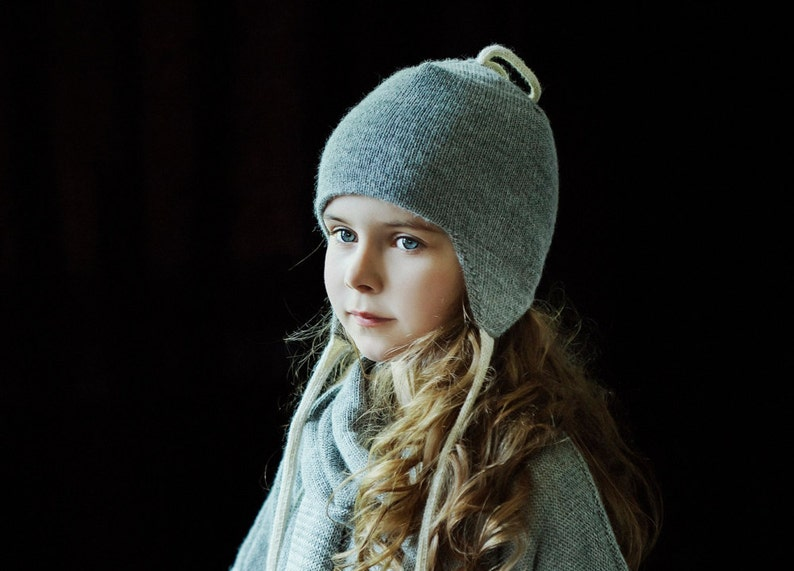 SAMPLE SALE Double layer knit hat alpaca kids hat warm winter hat with ear covers for baby children toddler  knitted wool hat with ear flaps