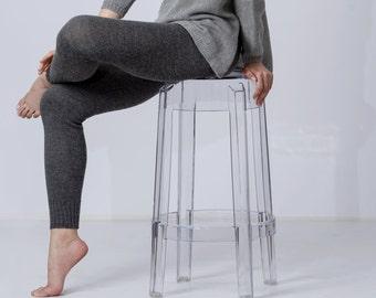 Alpaca leggings for woman / adult knit pants / alpaca woolleggings / slim fit knitted pants / gray charcoal brown / warm woman leggings