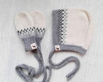 Baby gift set bonnet and mittens baby girl cap boy cap ivory white gray alpaca wool baby cap knit baby bonnet baby mittens baby shower gift