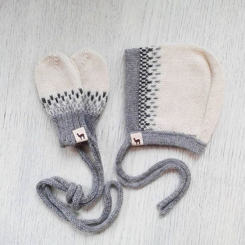 Baby gift set bonnet and mittens baby girl cap boy cap ivory image 0