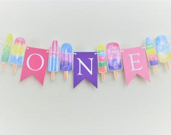 Popsicle Garland Banner 1st Birthday Party Ideas Summer Girl Baby Shower Ice Cream ONE Its A Theme