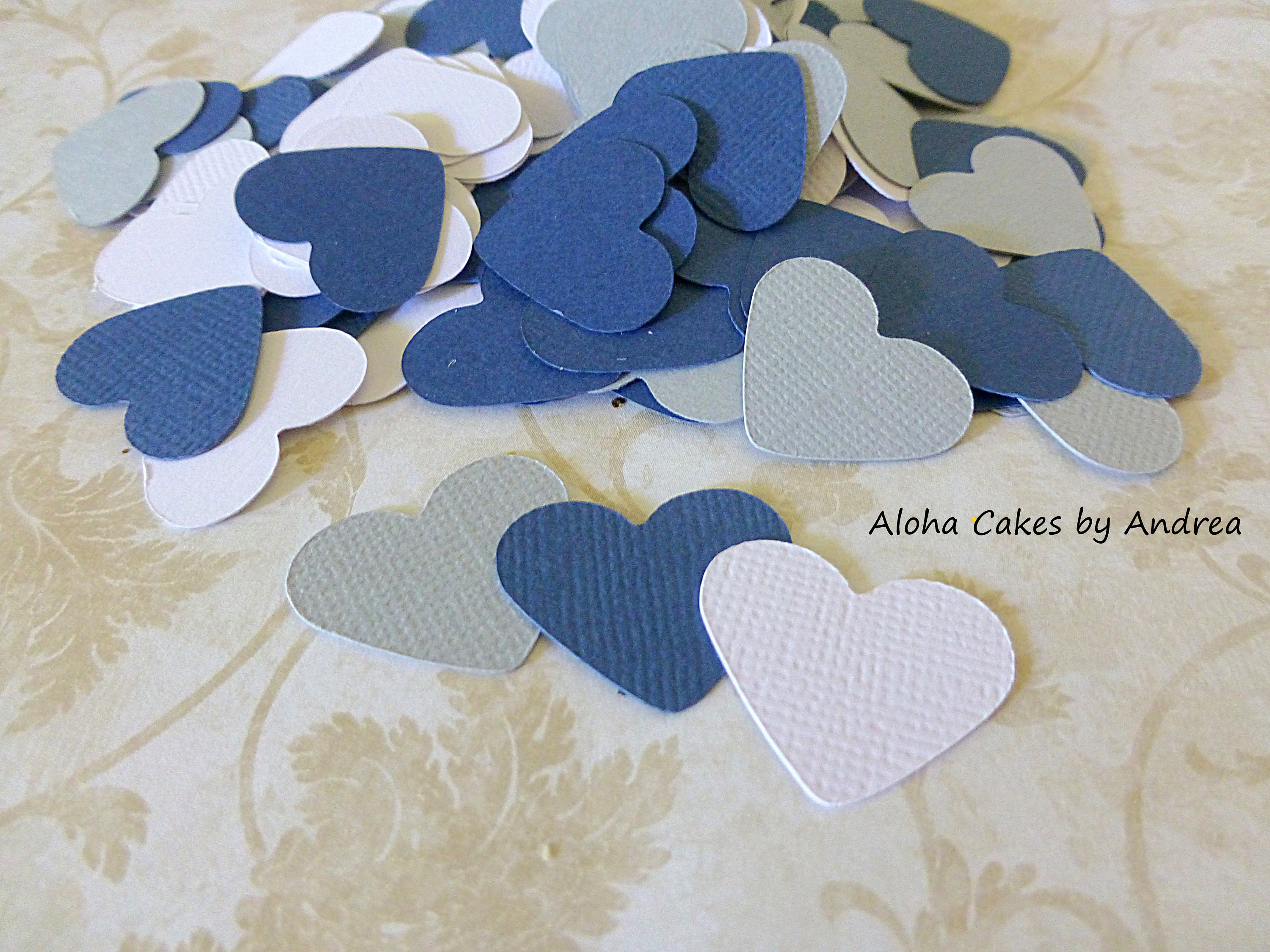 Navy Coral and White Heart Confetti Wedding Table Decorations