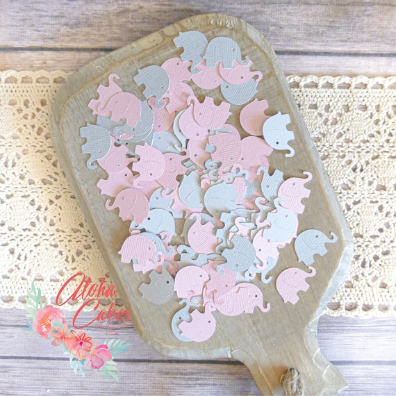 Elephant Confetti Baby Shower Decorations It S A Girl Baby Shower Light Pink And Gray Elephant Die Cut Shower Ideas Set Of 100