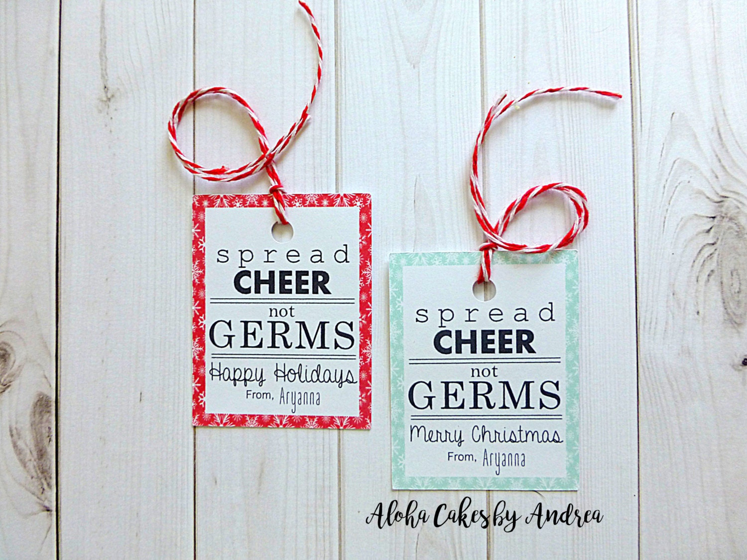 Spread Cheer not Germs Tag Christmas Gift Tag Personalized | Etsy