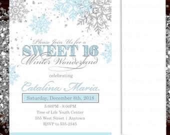 72c01da03a Sweet Sixteen Winter Wonderland Invitation
