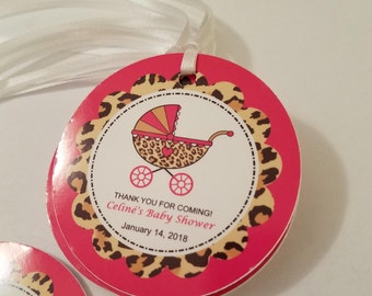Leopard Print Baby Shower Favor Tags