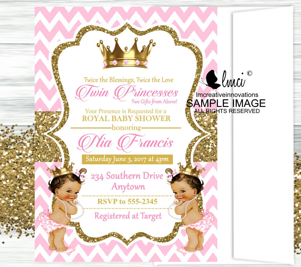 Royal Twin Princesses Baby Shower Invitation Little