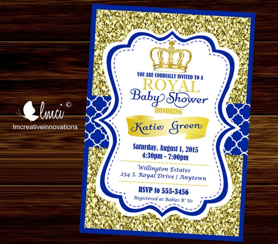 Royal Baby Shower Invitation Little Prince Baby Showerblue Etsy