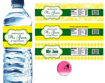 Retirement Water Bottle Label, Baby Shower, Party Favors  - Digital File
