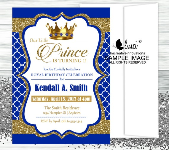 royal prince birthday invitation digital file or printed