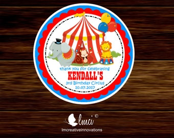 Carnival Stickers, Carnival Favor Tags, Birthday Circus Stickers, Circus Favor Tags