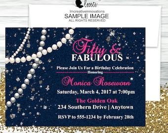 Denim Invitation, Milestone Birthday Invitation (21st, 30th, 35th, 40th, 45th, 50th), Diamonds & Pearls Invitation - Digital File
