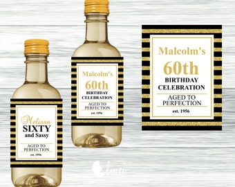 Black and Gold Mini Wine Bottle Labels - Digital File or Printed Mini Labels