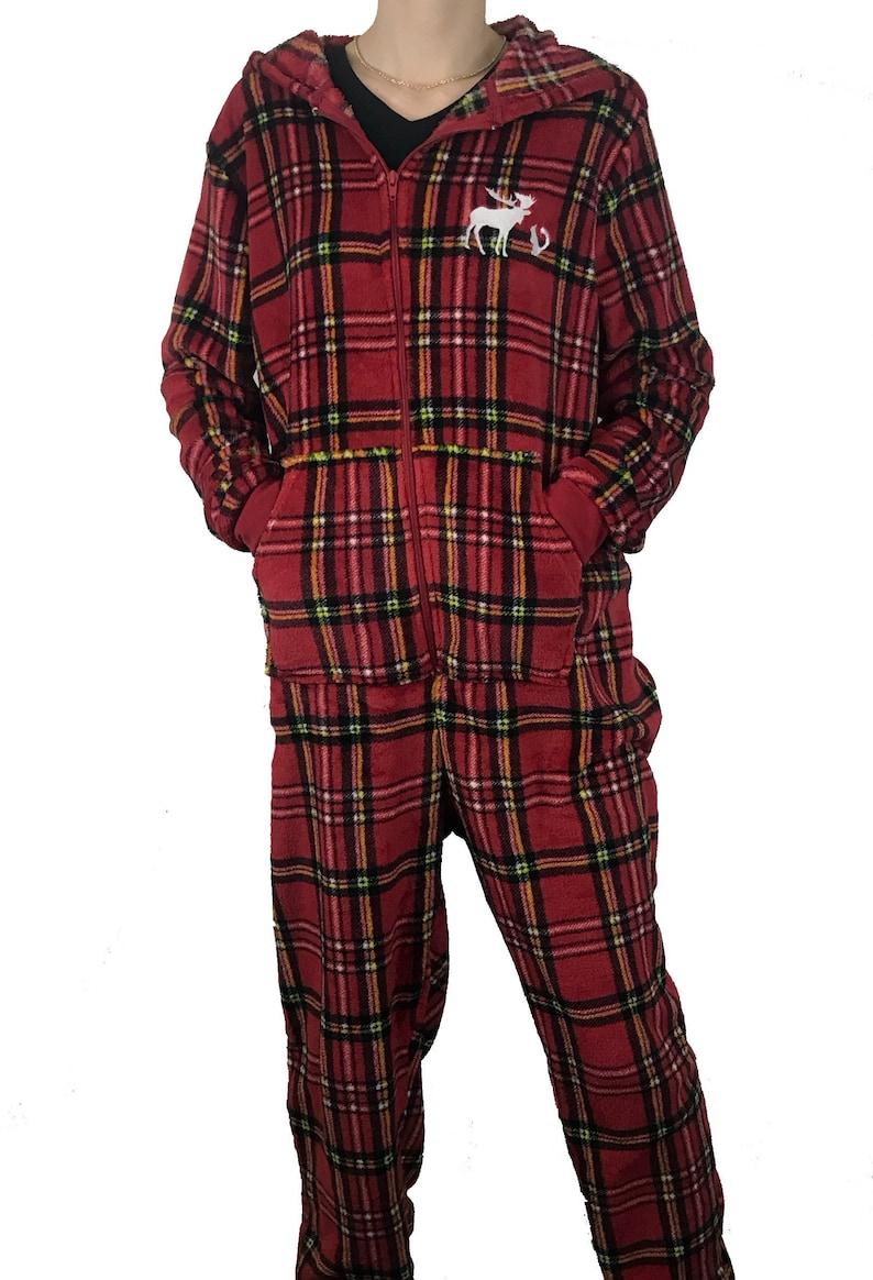 e5a859e36 Custom Embroidered Plaid Plus Size Fuzzy Pajama Jumpsuit Onesy