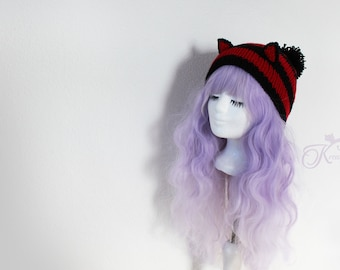 Cat Beanie black-red