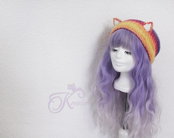 Glitter Fairy Cat Beanie (rainbow)