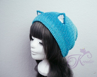 Glitter Fairy Cat Beanie (teal)