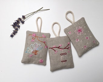 Small Lavender Bag hand stitched (sakura)