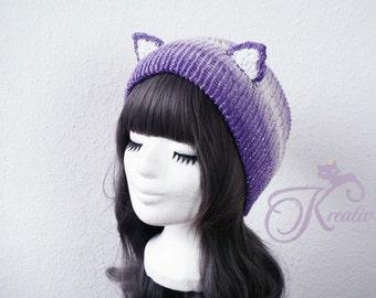 Glitter Fairy Cat Beanie (purple)