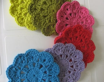 Crochet coasters. Cotton coasters.