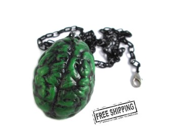 Psychobilly brain necklace -  zombie apocalypse brain jewelry - weird jewelry - zombie jewelry - frankenstein horror necklace creepy jewelry