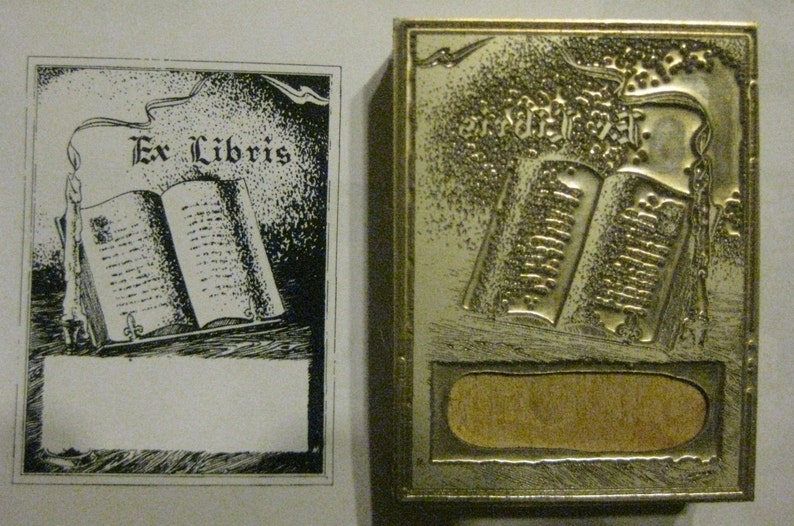 Mounted Letterpress Block Letterpress Blocks Print Blocks Bookplate Ex Libris Burning Candle /& Book Letterpress Printing Block