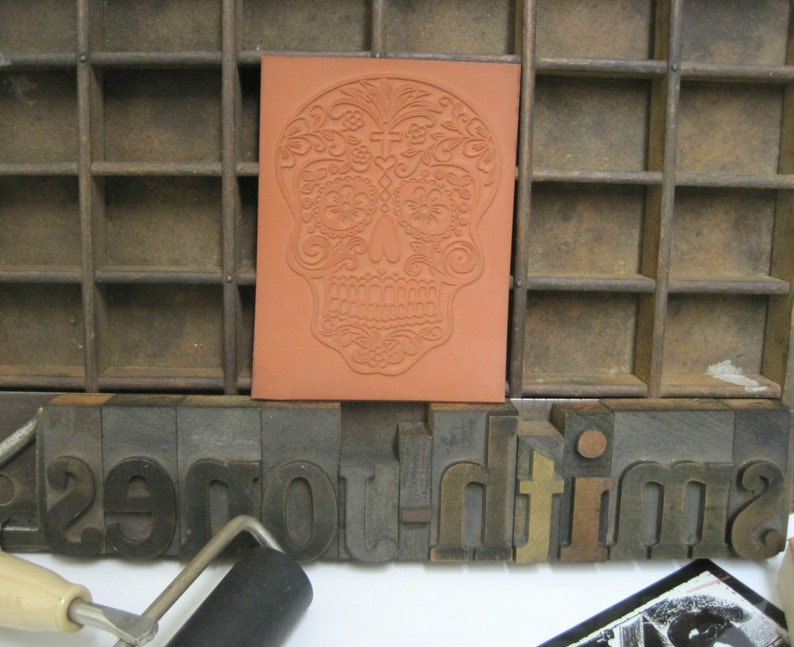 Day of Dead Themed Stamps Rubber Stamps Custom Rubber Stamp Halloween Stamp Rubber Stamp Print Block of Elaborate Sugar Skull