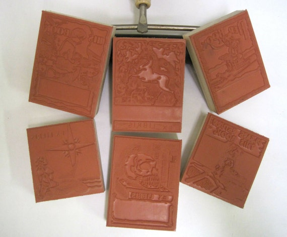 "BOOKPLATES Multiple Item Listing Library /""EX LIBRIS/"" Printing Blocks."