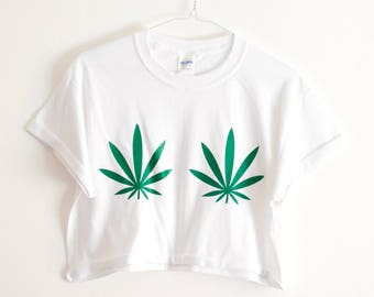 Crop Top Cannabis Leaf White Tshirt Marijuana Weed 420 Hipster Festival Summer Fashion S/M/L/XL