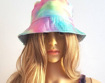 b1bc13b654d Bucket Hat Tie Dyed Pastel Goth Summer Hat Festival Rave Ibiza